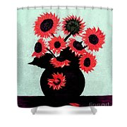 Painterly Red Sunflowers With Purple Shower Curtain