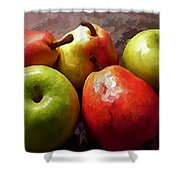 Painting Of Apples And Pears Shower Curtain