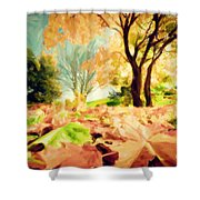 Painting Of Autumn Fall Landscape In Park Shower Curtain