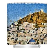 Painting Of Ios Town Shower Curtain