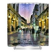 Old City Of Corfu During Dusk Time Shower Curtain