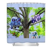 Painting Of Owls And Birds Nest In Tree Shower Curtain