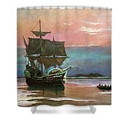 Painting Of The Ship The Mayflower 1620 Shower Curtain