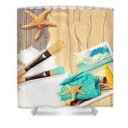 Painting Summer Postcard Shower Curtain by Amanda Elwell