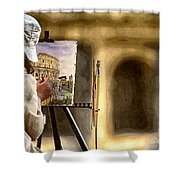 Painting The Colosseum Shower Curtain by Stefano Senise
