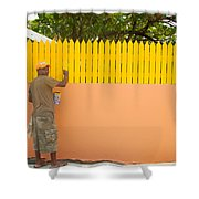 Painting The Fence Shower Curtain