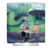 Painting The Lavender Fields Shower Curtain