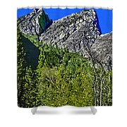 Painting Three Brothers Peaks Yosemite Np Shower Curtain
