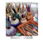 Painting Work Table Shower Curtain