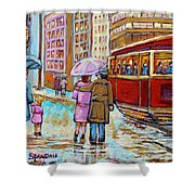 Paintings Of Fifties Montreal-downtown Streetcar-vintage Montreal Scene Shower Curtain