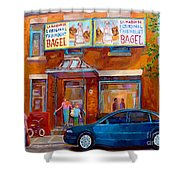 Paintings Of Montreal Fairmount Bagel Shop Shower Curtain by Carole Spandau