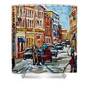 Paintings Of Old Port Quebec Vieux Montreal Memories Rue Notre Dame Snowscenes Art Carole Spandau Shower Curtain