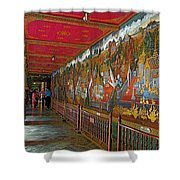 Paintings On Wall Of Middle Court Hallof Grand Palace Of Thailand Shower Curtain