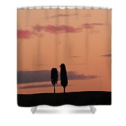 Pair Of Cypress Trees And Morning Sky In Tuscany Shower Curtain