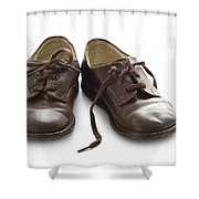 Pair Of Vintage Child Leather Shoes Shower Curtain