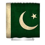 Pakistan Flag Vintage Distressed Finish Shower Curtain by Design Turnpike