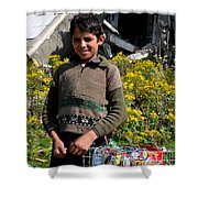Pakistani Boy In Front Of Hotel Ruins In Swat Valley Shower Curtain
