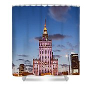 Palace Of Culture And Science At Dusk In Warsaw Shower Curtain by Artur Bogacki