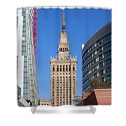 Palace Of Culture And Science In Warsaw Shower Curtain by Artur Bogacki