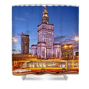 Palace Of Culture And Science In Warsaw At Dusk Shower Curtain by Artur Bogacki