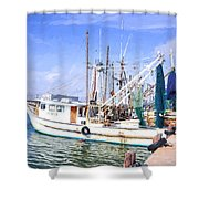 Palacios Texas Shrimp Boat Lineup Shower Curtain