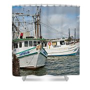 Palacios Texas Two Boats In View Shower Curtain