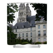 Palais In Tours With Cathedral Steeple Shower Curtain