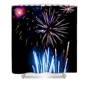 Pale Blue And Red Fireworks Shower Curtain