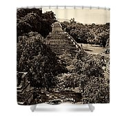 Palenque From The Jungle Panorama Sepia Shower Curtain