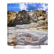 Palette Spring Terrace Panorama - Yellowstone National Park Wyoming Shower Curtain
