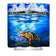 Palm Beach Under And Over Shower Curtain