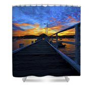 Palm Beach Wharf At Sunset Shower Curtain