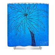 Palm Blue Shower Curtain