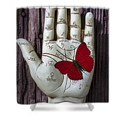 Palm Reading Hand And Butterfly Shower Curtain