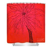 Palm Red Shower Curtain