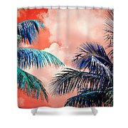 Palmscape Red Shower Curtain