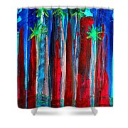 Palm Springs Nocturne Original Painting Shower Curtain