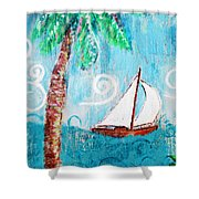 Palm Tree And Sailboat By Jan Marvin Shower Curtain