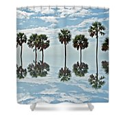 Palm Tree Reflection Shower Curtain