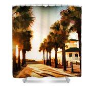 Palm Tree Sunrise Shower Curtain