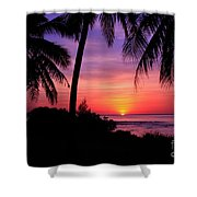 Palm Tree Sunset In Paradise Shower Curtain