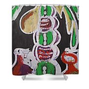Pen And Drawing Batik Palm Tree With Keg Of Palm Wine. Shower Curtain