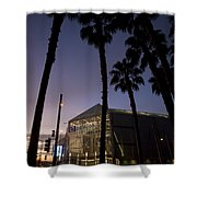 Palm Trees And Hp Pavilion San Jose At Night Shower Curtain