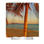 Palm Trees By A Restaurant On The Beach In Bahia Kino-sonora-mexico Shower Curtain