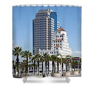 Palm Trees In Downtown Long Beach Shower Curtain