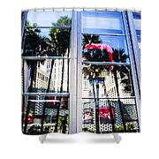 Palm Trees In Reflection Shower Curtain