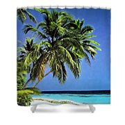 Palm Trees On Little Palm Island Filtered Shower Curtain