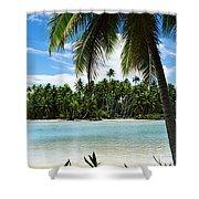Palm Trees On The Beach, Rangiroa Shower Curtain