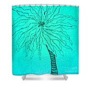 Palm Turquoise  Shower Curtain