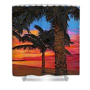 Palme Al Tramonto Shower Curtain